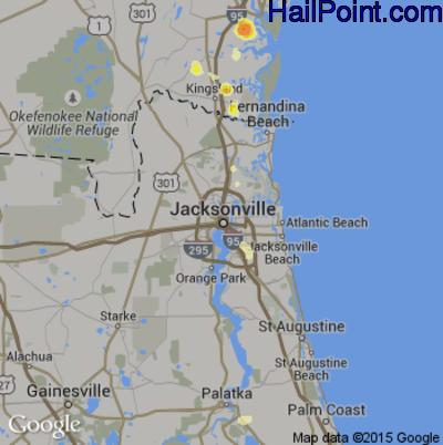 Hail Map for Jacksonville, FL Region on June 19, 2015
