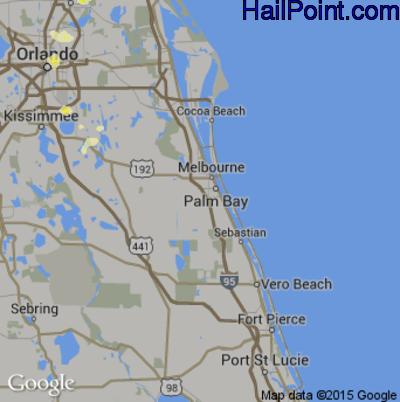 Hail Map for Palm Bay, FL Region on June 19, 2015