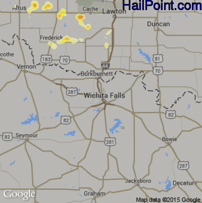 Hail Map for Wichita Falls, TX Region on June 19, 2015