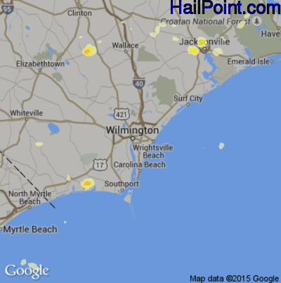 Hail Map for Wilmington, NC Region on June 19, 2015