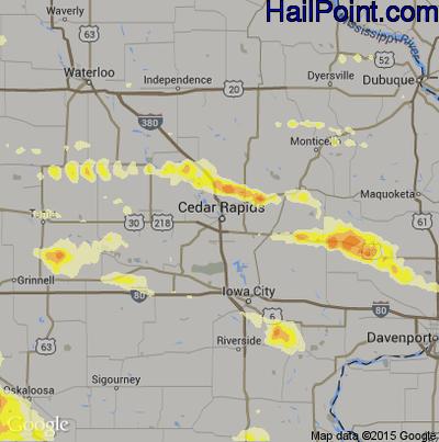 Hail Map for Cedar Rapids, IA Region on June 20, 2015