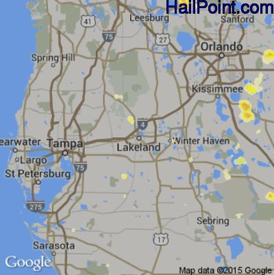 Hail Map for Lakeland, FL Region on June 20, 2015