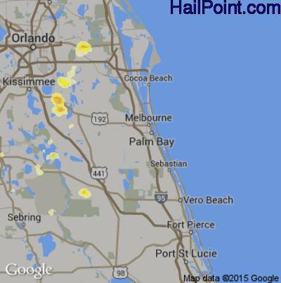 Hail Map for Palm Bay, FL Region on June 20, 2015