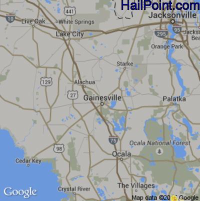 Hail Map for Gainesville, FL Region on June 20, 2015