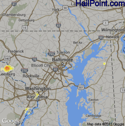 Hail Map for Baltimore, MD Region on June 20, 2015