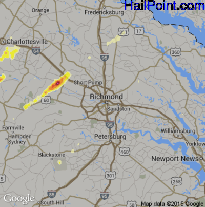 Hail Map for Richmond, VA Region on June 20, 2015