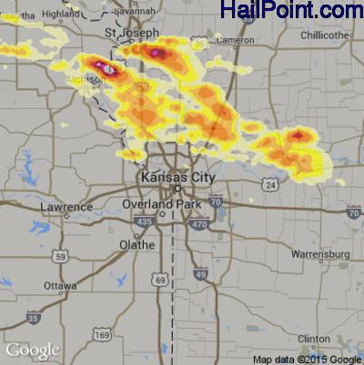 Hail Map for Kansas City, MO Region on June 21, 2015