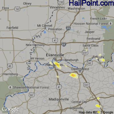 Hail Map for Evansville, IN Region on June 21, 2015