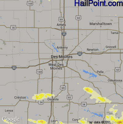 Hail Map for Des Moines, IA Region on June 21, 2015
