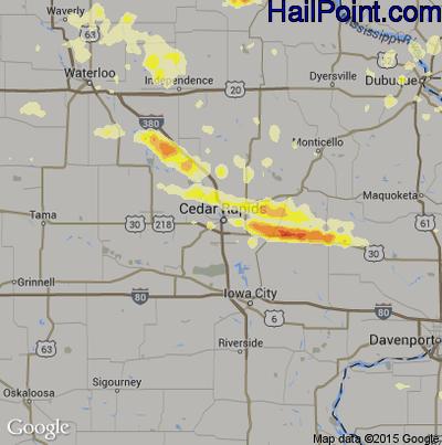 Hail Map for Cedar Rapids, IA Region on June 22, 2015