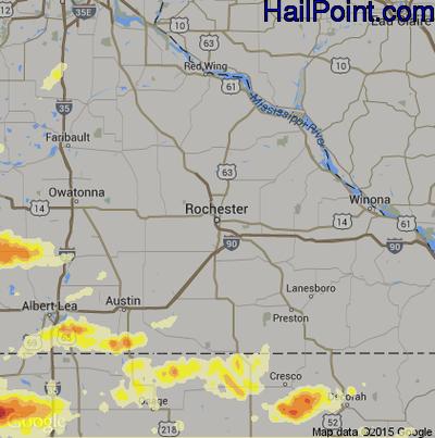 Hail Map for Rochester, MN Region on June 22, 2015