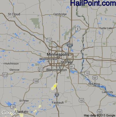 Hail Map for Minneapolis, MN Region on June 22, 2015