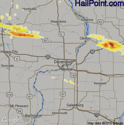 Hail Map for Davenport, IA Region on June 22, 2015