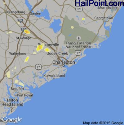 Hail Map for Charleston, SC Region on June 22, 2015