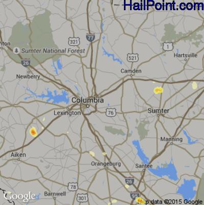 Hail Map for Columbia, SC Region on June 22, 2015