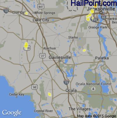 Hail Map for Gainesville, FL Region on June 22, 2015