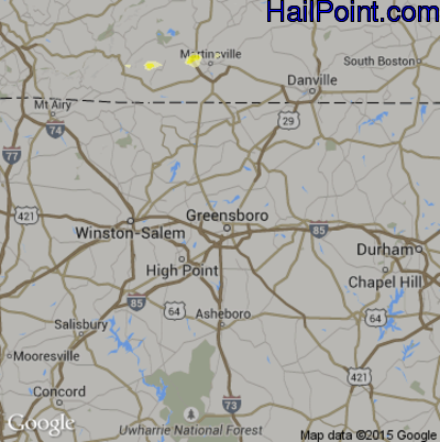 Hail Map for Greensboro, NC Region on June 22, 2015