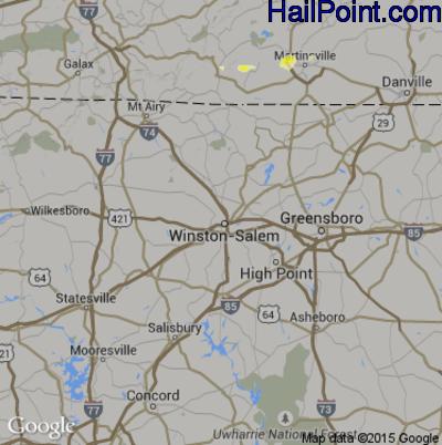 Hail Map for Winston-Salem, NC Region on June 22, 2015