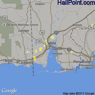 Hail Map for Mobile, AL Region on June 22, 2015