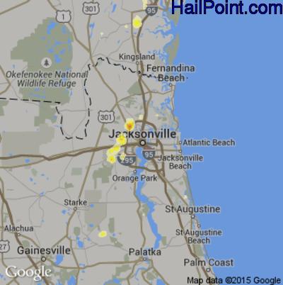 Hail Map for Jacksonville, FL Region on June 22, 2015