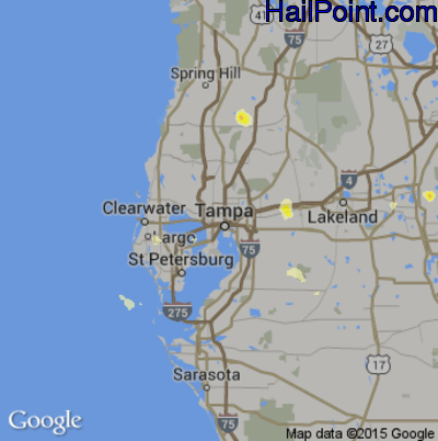 Hail Map for Tampa, FL Region on June 23, 2015