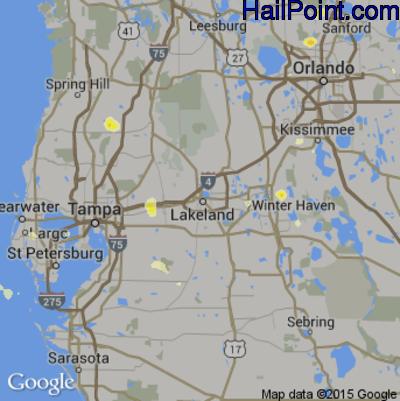 Hail Map for Lakeland, FL Region on June 23, 2015