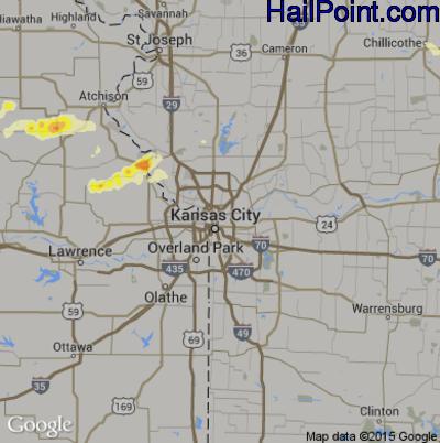 Hail Map for Kansas City, MO Region on June 23, 2015