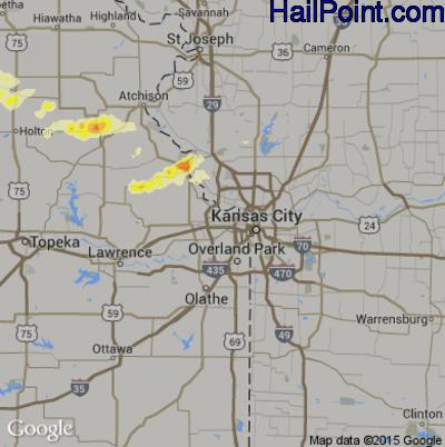Hail Map for Kansas City, KS Region on June 23, 2015