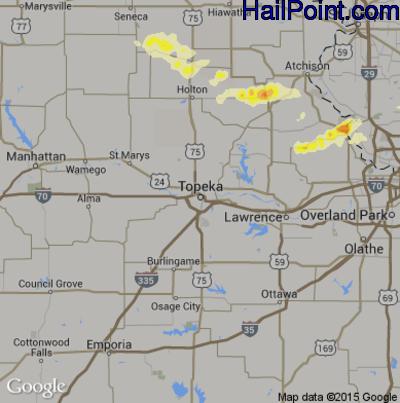 Hail Map for Topeka, KS Region on June 23, 2015