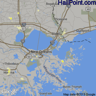 Hail Map for New Orleans, LA Region on June 23, 2015