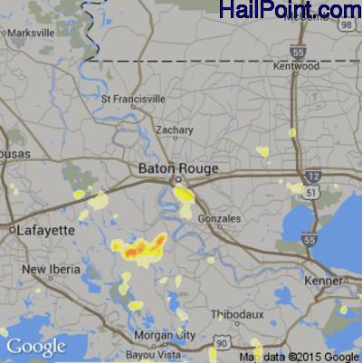Hail Map for Baton Rouge, LA Region on June 23, 2015