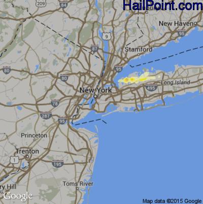 Hail Map for New York, NY Region on June 23, 2015