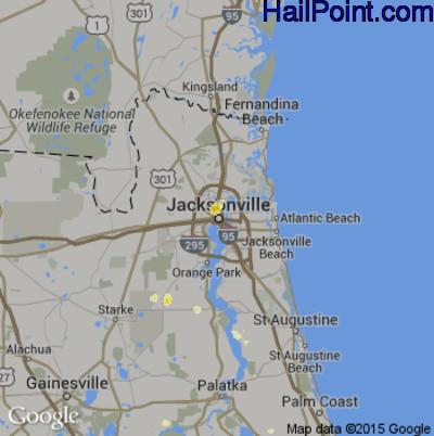 Hail Map for Jacksonville, FL Region on June 23, 2015