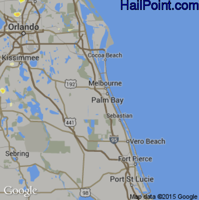 Hail Map for Palm Bay, FL Region on June 23, 2015