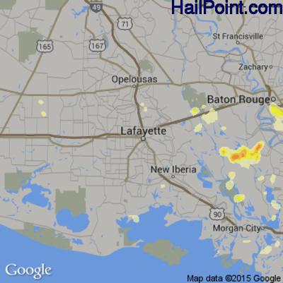 Hail Map for Lafayette, LA Region on June 23, 2015