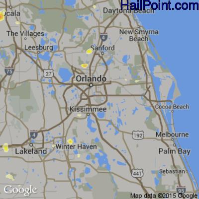 Hail Map for Orlando, FL Region on June 23, 2015