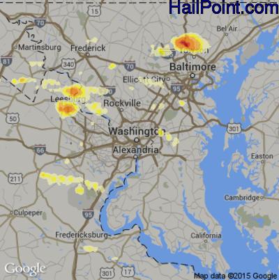 Hail Map for Washington, DC Region on June 23, 2015