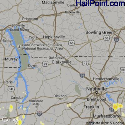 Hail Map for Clarksville, TN Region on June 23, 2015
