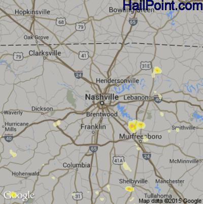 Hail Map for Nashville, TN Region on June 23, 2015