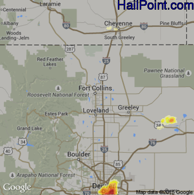 Hail Map for Fort Collins, CO Region on June 23, 2015