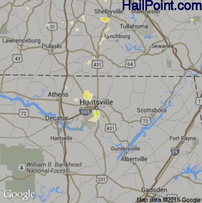 Hail Map for Huntsville, AL Region on June 24, 2015