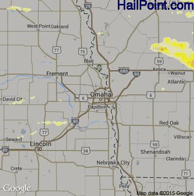 Hail Map for Omaha, NE Region on June 24, 2015