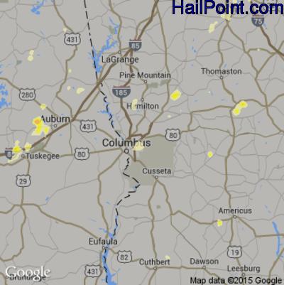 Hail Map for Columbus, GA Region on June 24, 2015