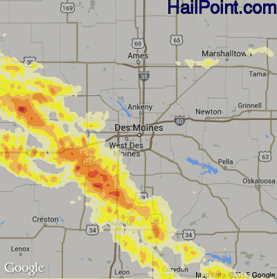 Hail Map for Des Moines, IA Region on June 24, 2015