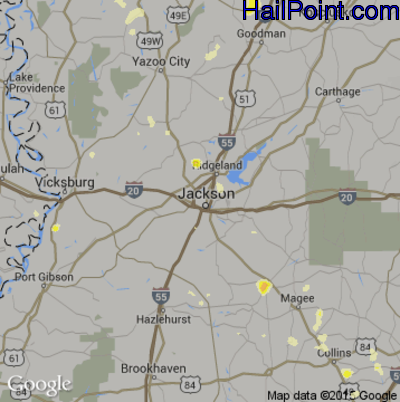 Hail Map for Jackson, MS Region on June 24, 2015