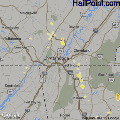 Hail Map for Chattanooga, TN Region on June 24, 2015