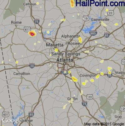 Hail Map for Atlanta, GA Region on June 24, 2015