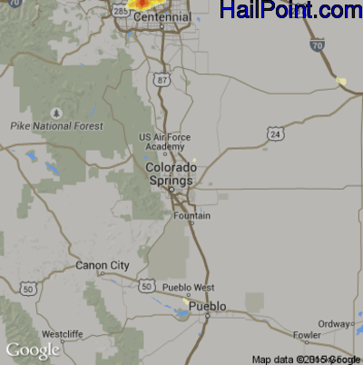 Hail Map for Colorado Springs, CO Region on June 24, 2015