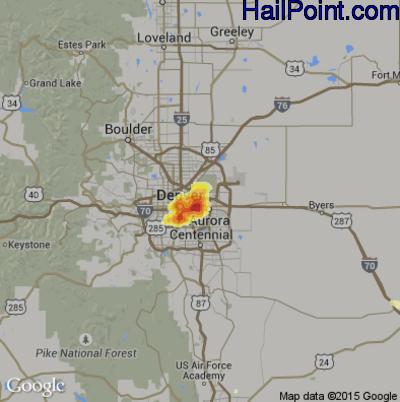 Hail Map for Denver, CO Region on June 24, 2015