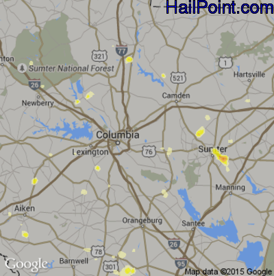 Hail Map for Columbia, SC Region on June 24, 2015